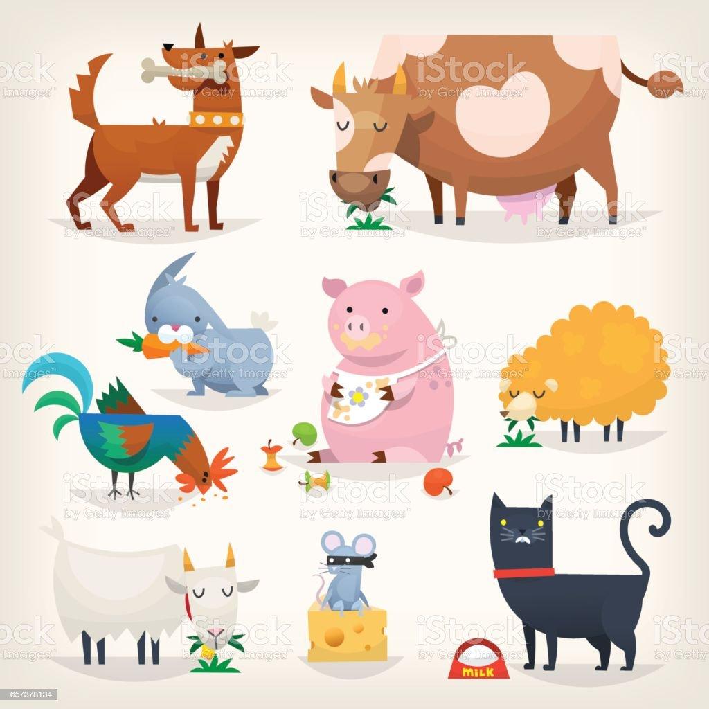 Farm birds and animals vector art illustration