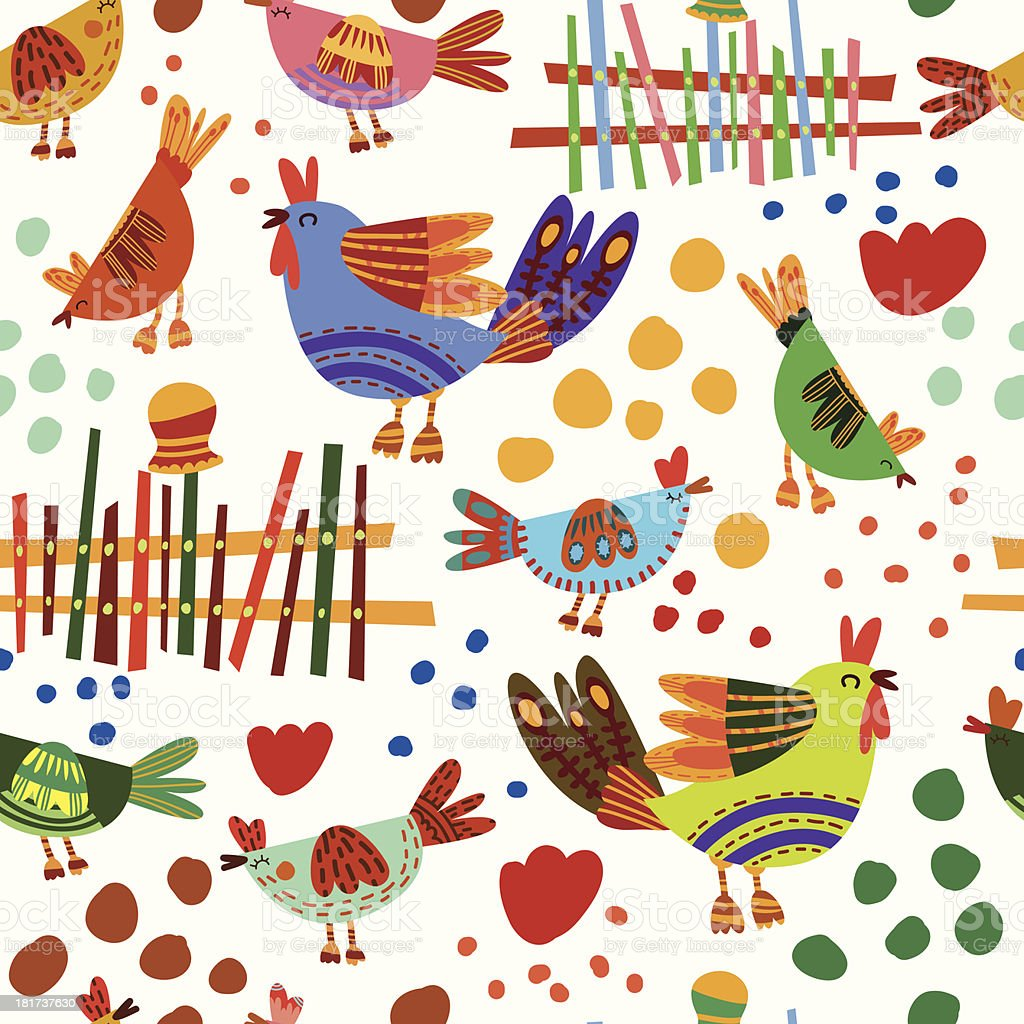 Farm Birds Seamless Pattern Background royalty-free farm birds seamless pattern background stock vector art & more images of abstract