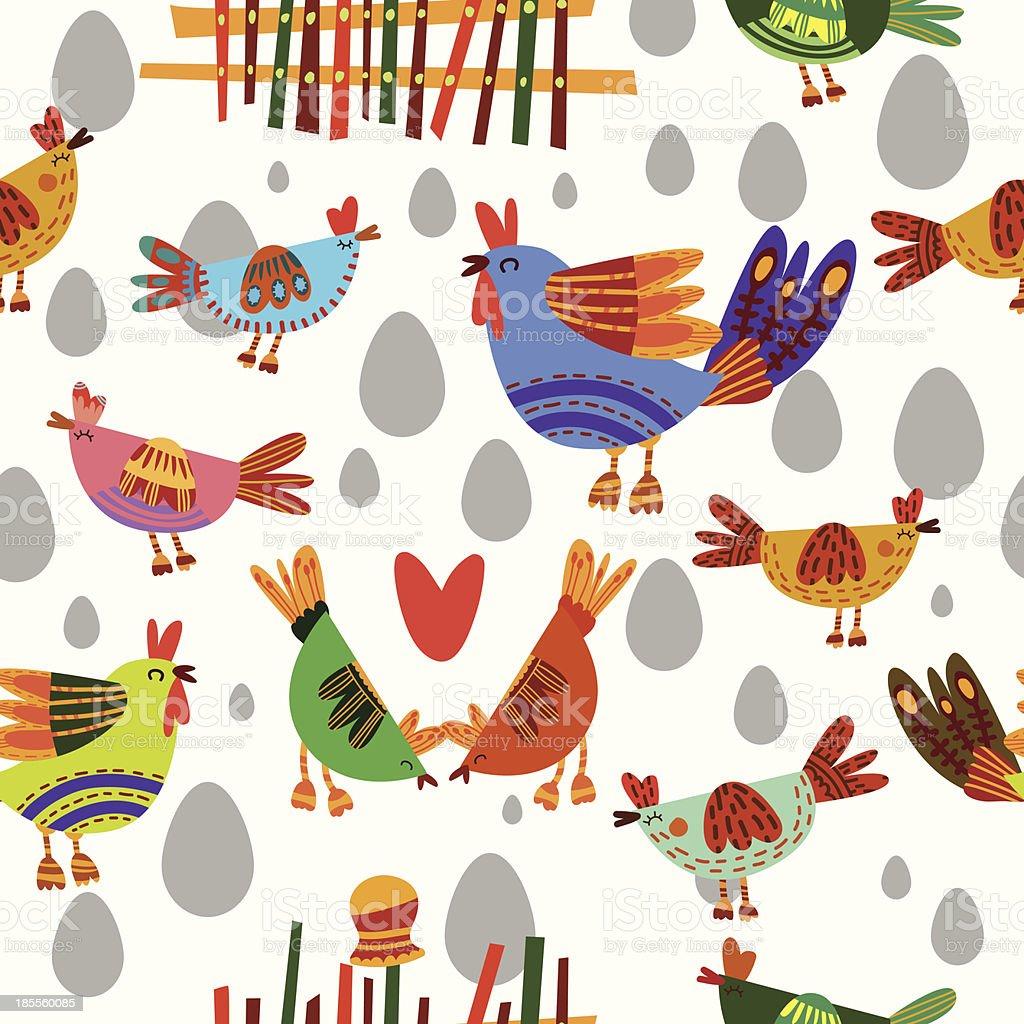 Farm Birds Seamless Pattern Background royalty-free stock vector art