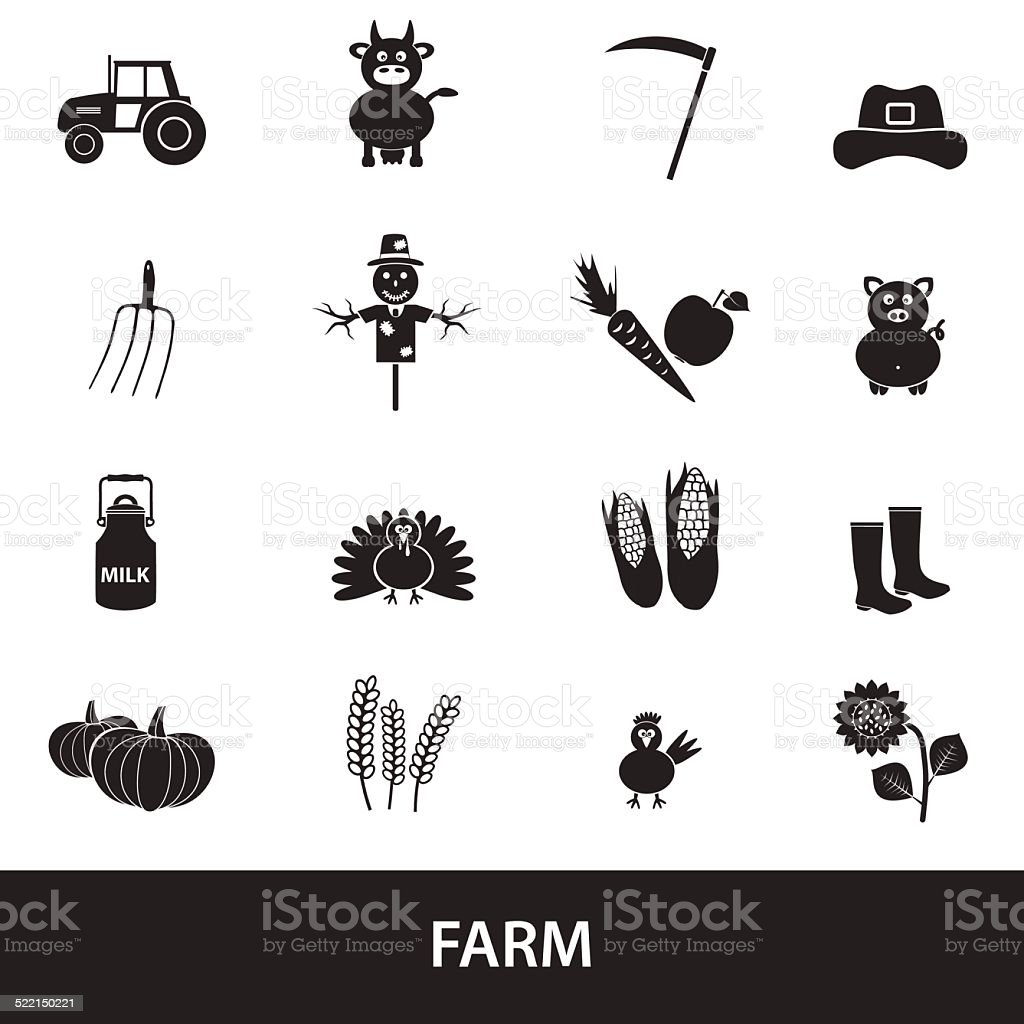farm black simple icons set vector eps10 vector art illustration