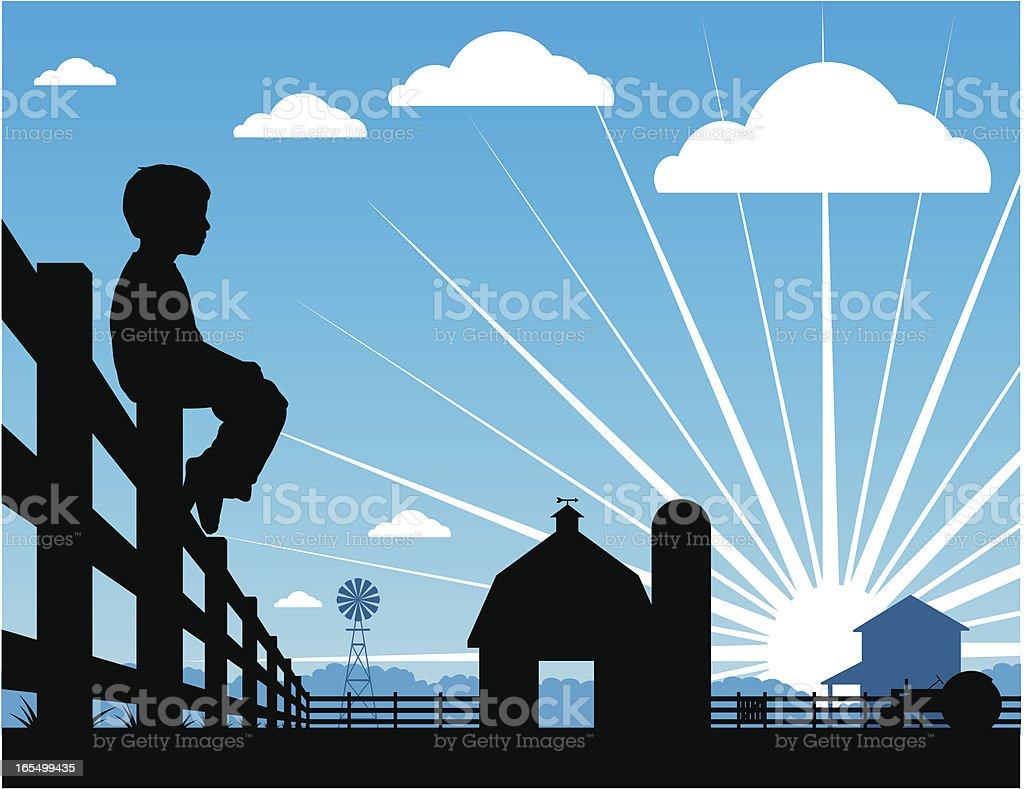 Farm boy silhouetted sitting on a fence vector art illustration