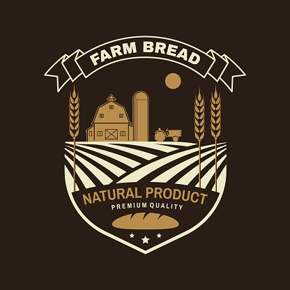 Farm bread bread badge, logo. Vector illustration Typography design with farm, ears of wheat silhouette. Template for restaurant identity objects, packaging and menu