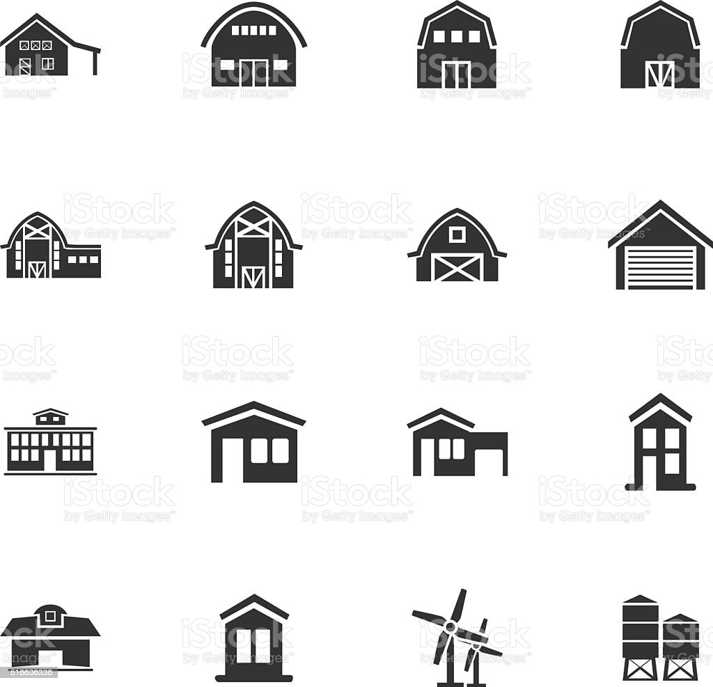 farm building icon set vector art illustration