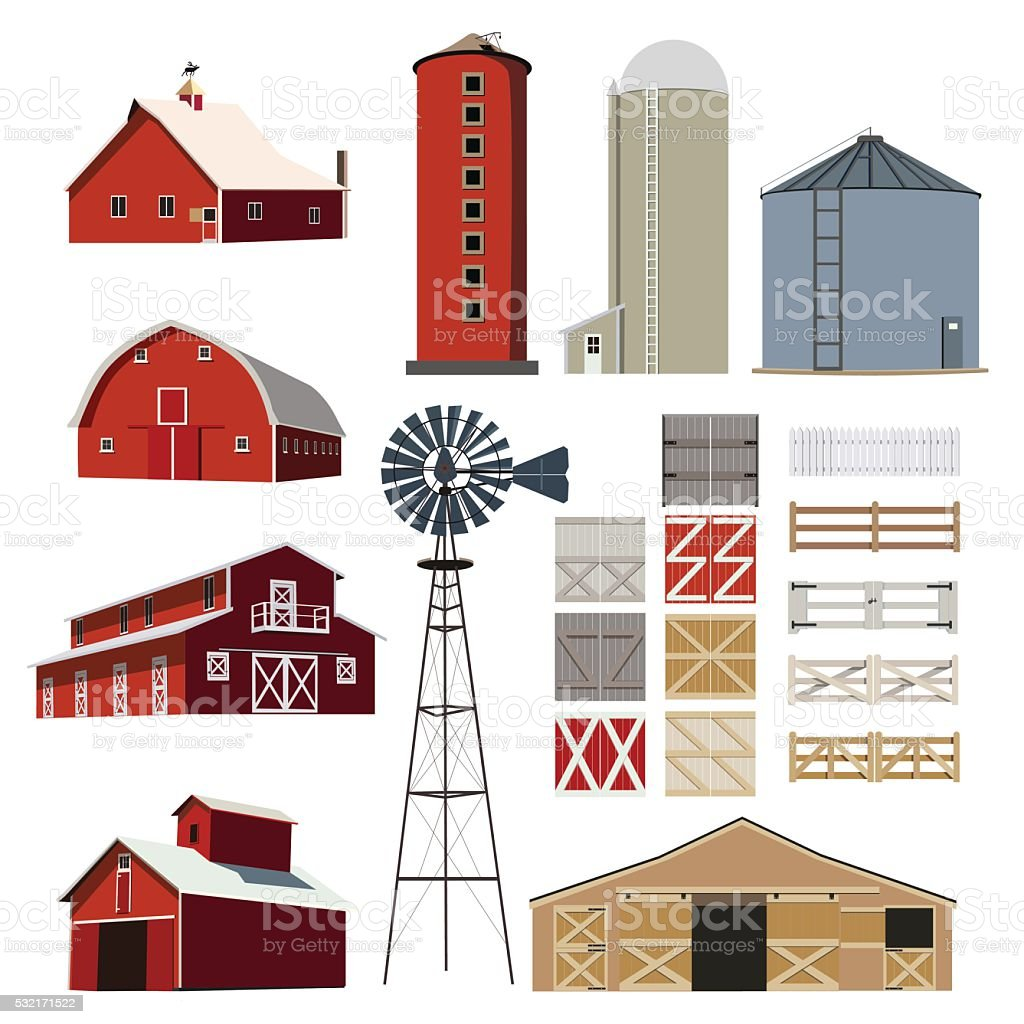 Farm Building Livestock vector set vector art illustration