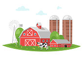Vector cartoon style illustration of farm building - barn on rural landscape. A cow is grazing in a meadow.