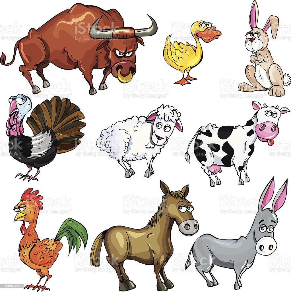 Farm cartoon animals royalty-free stock vector art