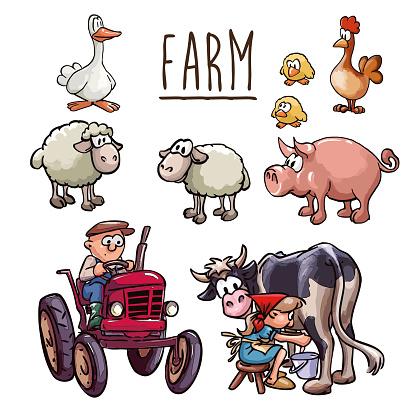 Farm cartoon illustration - farmer driving a tractor, a peasant woman milking cow and farm animals