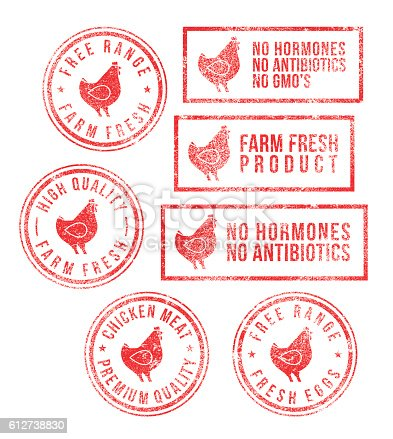 istock Farm Chicken Meat Eggs Rubber Stamps 612738830