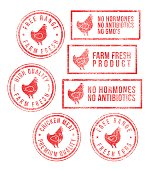 Farm Chicken Meat Eggs Rubber Stamps