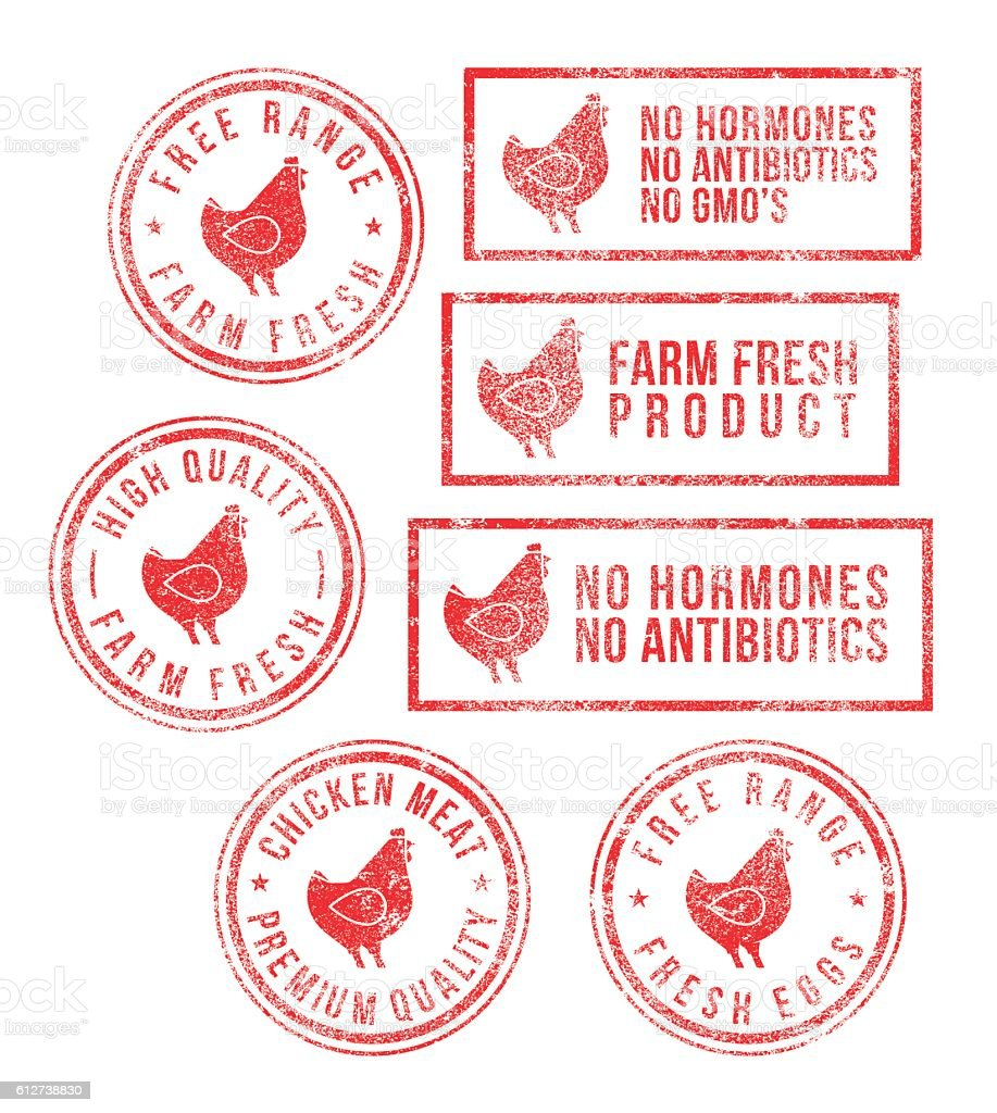 Farm Chicken Meat Eggs Rubber Stamps vector art illustration
