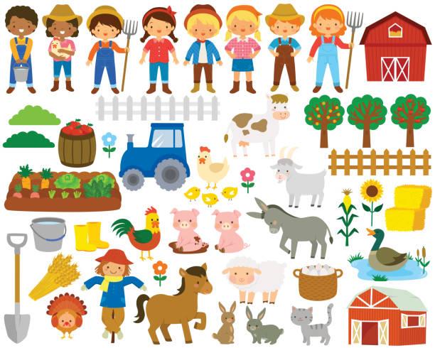 Farm clip art set vector art illustration