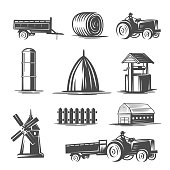 Farm collection. Black and white vector illustration.