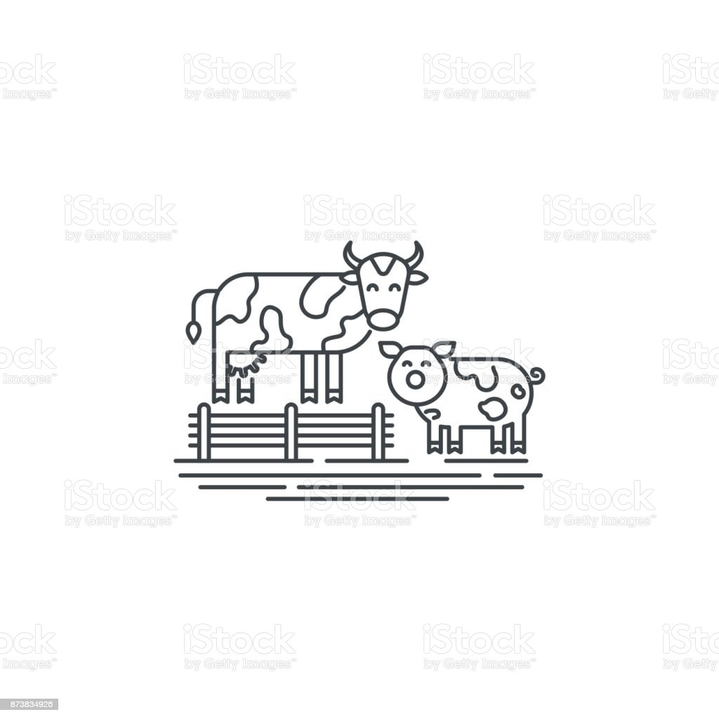 Farm cows line icon. Outline illustration of two cows vector linear design isolated on white background. Farm icon template, element for agriculture business, line icon object. vector art illustration