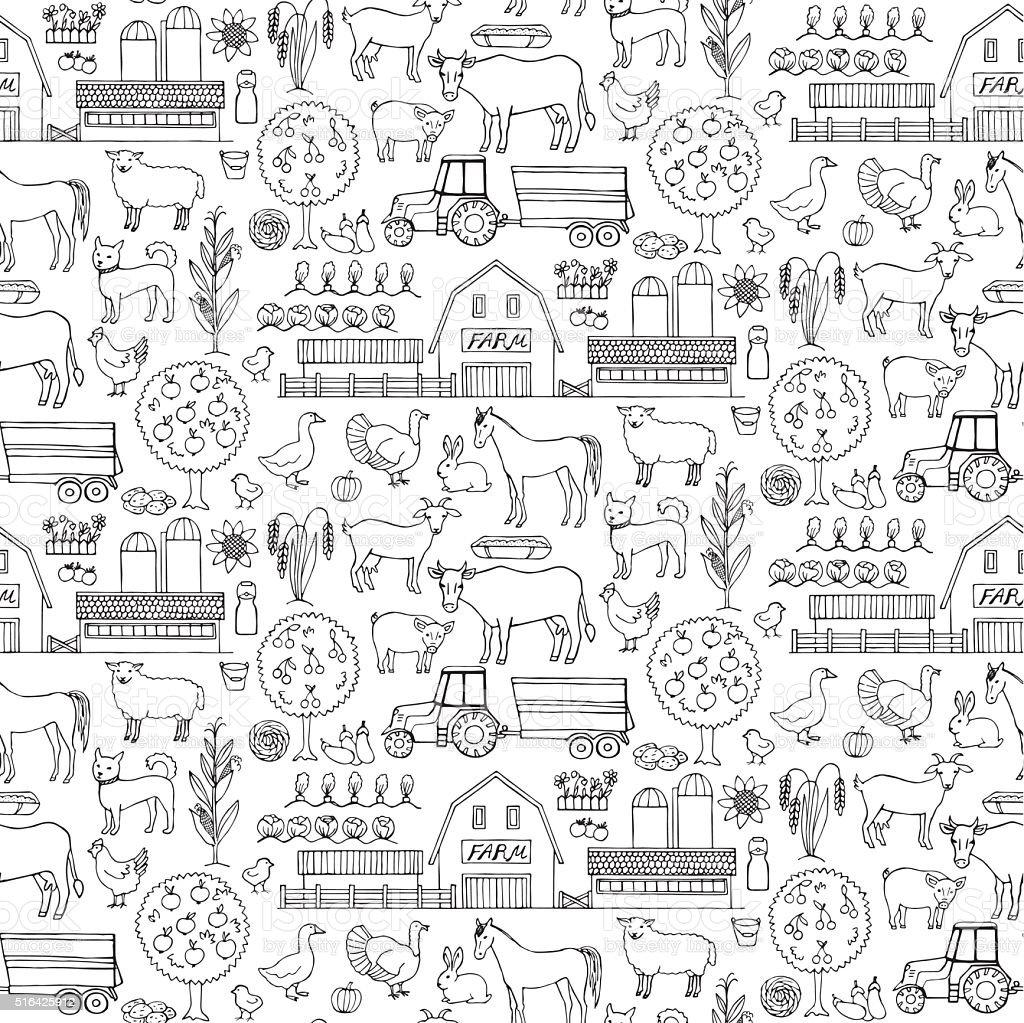 Farm doodle seamless pattern vector art illustration
