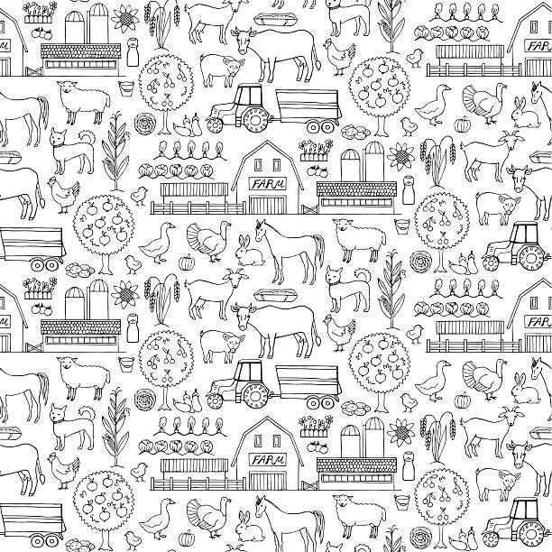 illustrations, cliparts, dessins animés et icônes de ferme doodle motif sans couture. - animaux de la ferme