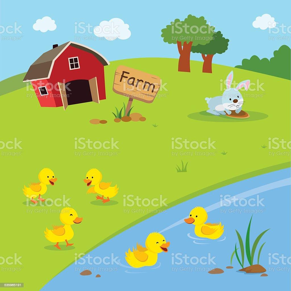 Farm. Ducklings in the pond. vector art illustration