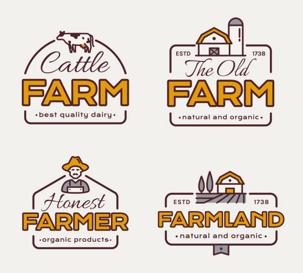 Farm emblem set. Vector labels. Farm emblem set for dairy products, natural and organic food, agricultural produce. Vector labels with cow, farmer and farmhouse. farmers market illustrations stock illustrations