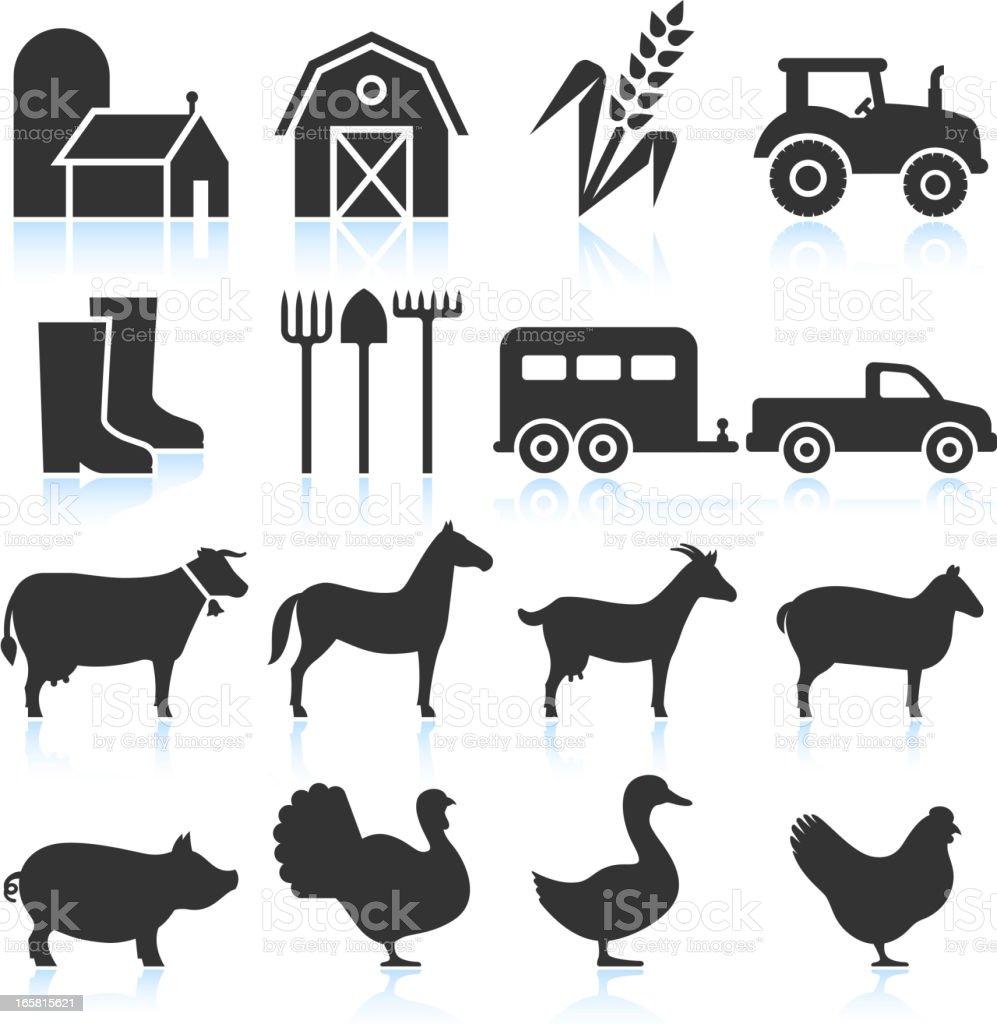 Farm Equipment and Animals black & white vector icon set vector art illustration