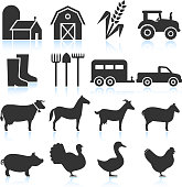 Farm Equipment and Animals black & white vector icon set