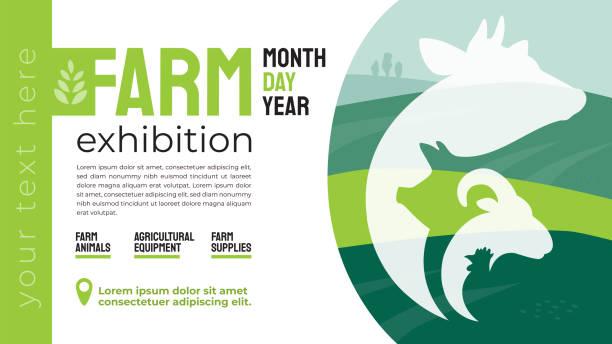 Farm exhibition identity template – artystyczna grafika wektorowa
