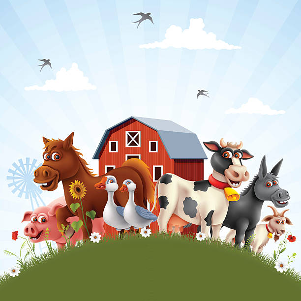 ilustrações, clipart, desenhos animados e ícones de fazenda da família - animais da fazenda