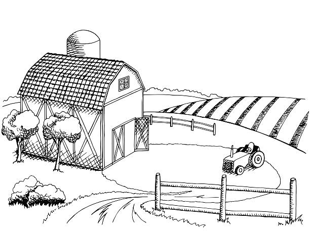 Farm Field Graphic Art Black White Landscape Illustration Vector