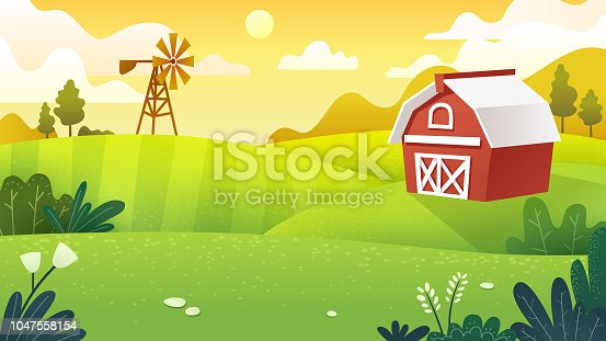 Farm fields in minimal and flat art work style, vector art and illustration.