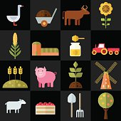 Farm animals, plants, fresh products, buildings and equipments. Colorful modern vector flat icons set. Collection of elements and concepts for web and mobile apps. Vector file is EPS8. Each icon is grouped apart.