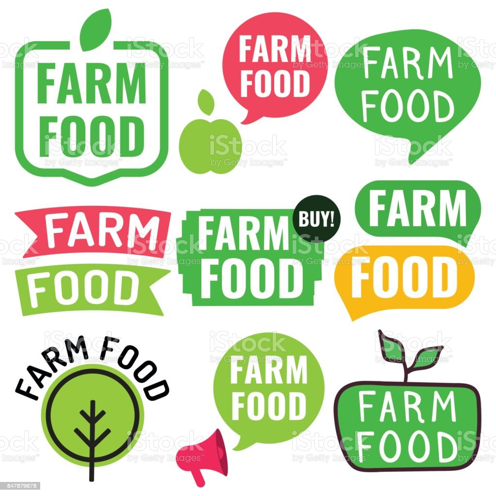 Bauernhof Essen. Abzeichen, Symbol, Logo-Set. Vektor-Illustrationen auf weißem Hintergrund. – Vektorgrafik