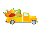 Pickup truck with vegetables. Delivery of fresh organic food from the farm. Vector illustration in flat style isolated on white background. Delivery service advertising template.
