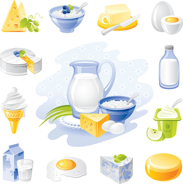 Dairy Products Vector Art Illustration Farm Food Icon Set And Poultry