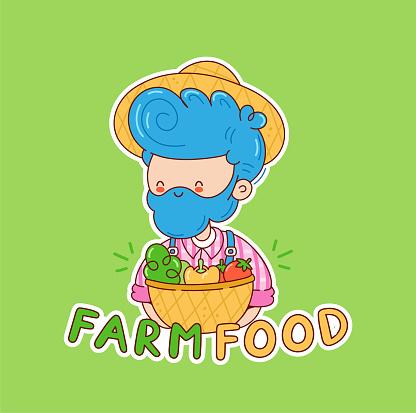 Farm food logo design. Farmer man