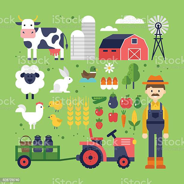 Farm food products and animals icons harvest agriculture vector id528729740?b=1&k=6&m=528729740&s=612x612&h=sccva0kh4ap3efpwhm88 3lbavrgkt 76wrkzc1qrx4=