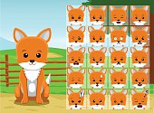 Farm Fox Cartoon Emotion faces Vector Illustration