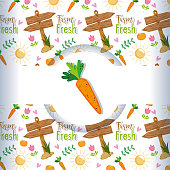 Organic farming background with cartoons vector illustration graphic design