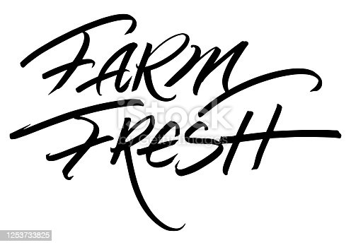 istock Farm Fresh Calligraphic Inscription. Calligraphic Lettering Design Template. Creative Typography for Greeting Card, Gift Poster, Banner etc. 1253733825