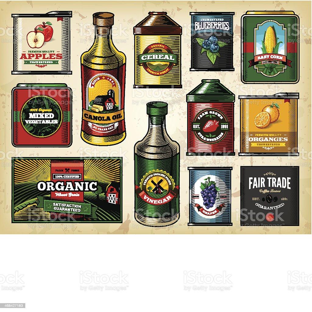 Farm Fresh Groceries Item Set vector art illustration