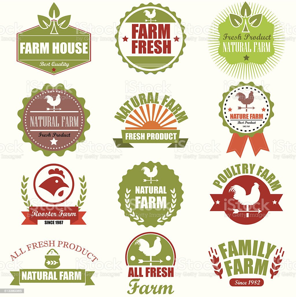Frische Marken.  Biologischen Landbau isoliert Vektor anmelden Satz.  Weit – Vektorgrafik