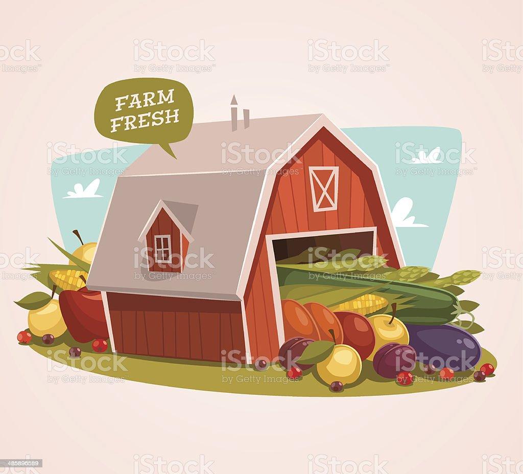 Farm fresh. Organic food background vector art illustration