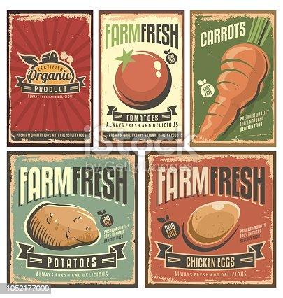 istock Farm fresh organic products retro tin signs collection 1052177008