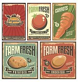 Farm fresh organic products retro tin signs collection. Delicious vegetables vintage poster set.