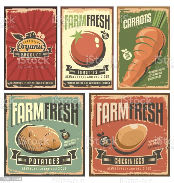 Farm fresh organic products retro tin signs collection vector id1052177008?b=1&k=6&m=1052177008&s=612x612&h=2wlwadcbl9gxglcdo8bqkghhqdqt fm9dievkuuzmju=