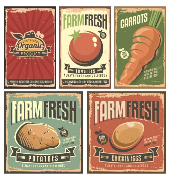 Farm fresh organic products retro tin signs collection Farm fresh organic products retro tin signs collection. Delicious vegetables vintage poster set. fruit backgrounds stock illustrations