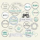 Farm Fresh organic stamps set. Raw Vegan Local food. Vintage labels. Vector Illustration.EPS10, Ai10, PDF, High-Res JPEG included.