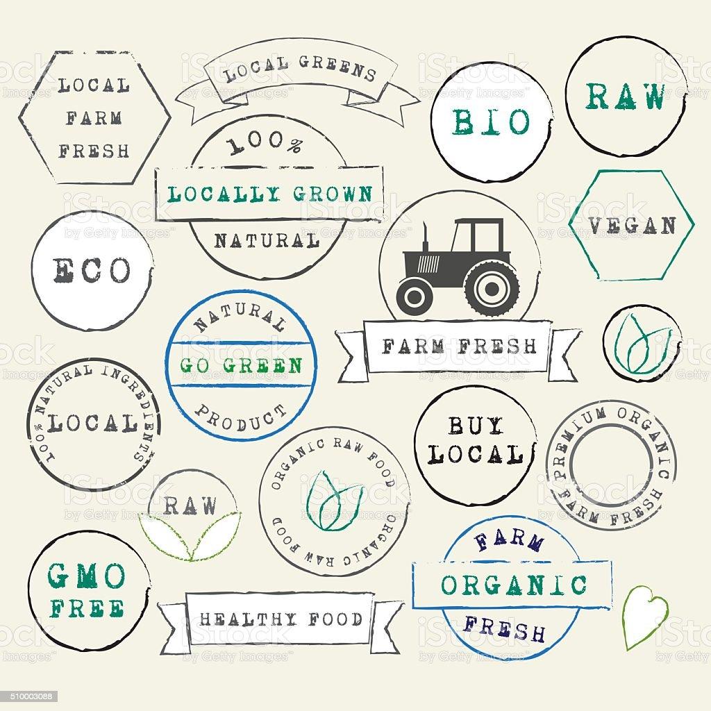 Farm Fresh organic stamps set vector art illustration