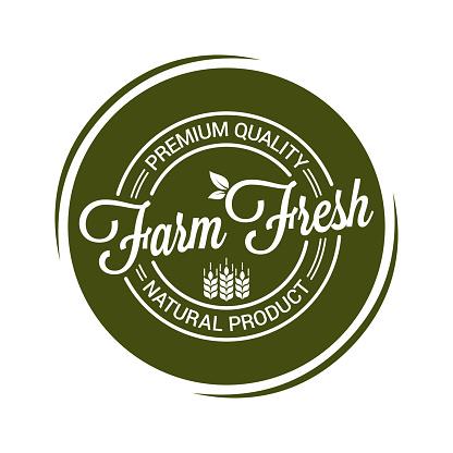 farm fresh product seal on white background