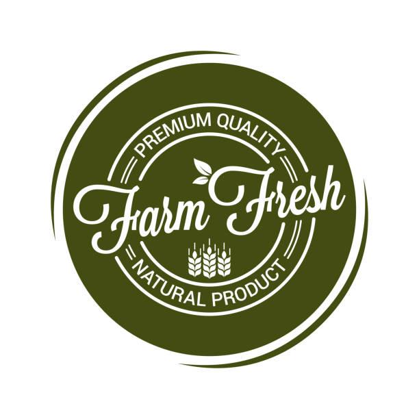 farm fresh product seal on white background - pieczęć znaczek stock illustrations