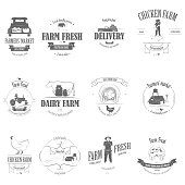 Farm Fresh Products Badge Set Vector Illustration. Contains Images of Barn, Farm Truck, Tractor, Cow, Chicken, Farmer, Eggs, Human Hands, Milk Can, Farm Constructions, Tomatoes.