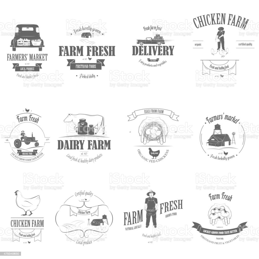 Farm Fresh Products Badge Set. vector art illustration