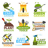 Gardening and farming icons, farmer tools. Vector garden plants, watering can and wheelbarrow with green leaf, spade shovel and rake or saw with hack hoe. Gardener agriculture